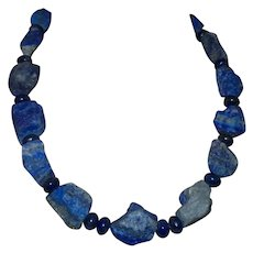Lapis Lazuli Nugget Necklace with Round Lapis Spacers