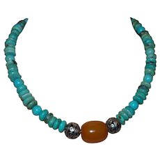 Chinese Turquoise Necklace with Barrel Amber and Bali Silver