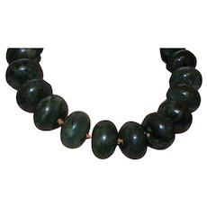 Dark Green Jade Necklace on Knotted Silk Cord