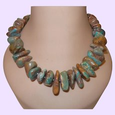 American Turquoise Necklace With Silver Trim