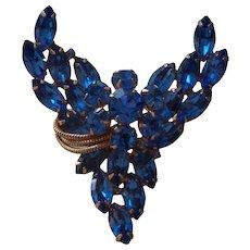 Unsigned Eisenberg Blue Rhinestone Brooch