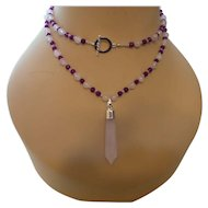 Hand Strung Amethyst and Rose Quartz Necklace with Earrings