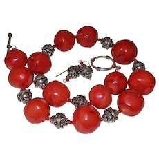 Hand Strung Orange Coral Necklace with Bali Silver