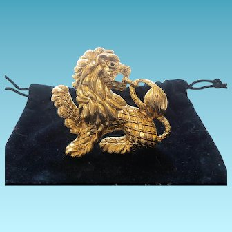 Signed Joan Rivers Lion Brooch