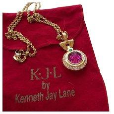 Signed KJL Red Pendant Necklace With Original Bag