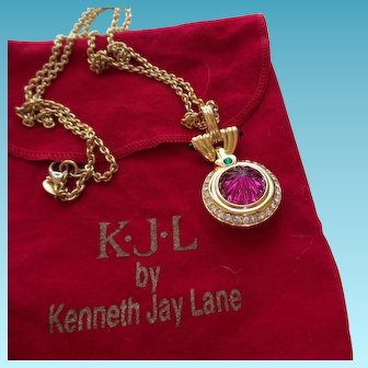 Signed KJL Red Pendant Necklace With Original Bag