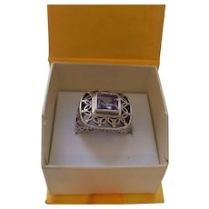 Ethnic Sterling and Amethyst Ring
