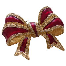 Signed Joan Rivers Red Enamel Bow Brooch