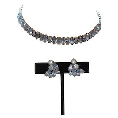Signed Weiss Blue Rhinestone Set