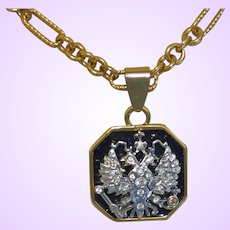 Signed Joan Rivers Double Eagle Head Necklace