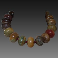 Hand Strung Pieces of Large Jade in Mixed Colors