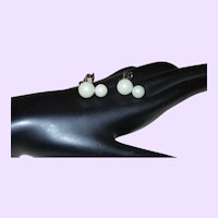 Signed Judy Lee Faux Pearl Earrings