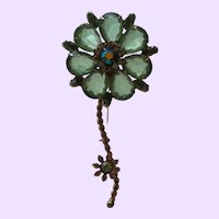 Juliana Green Rhinestone Long Stem Flower Brooch