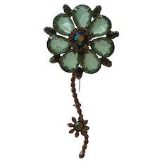 Juliana Green Rhinestone Long Stem Flower Brooch