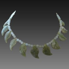 Hand Strung Carved Jade Leaf Necklace