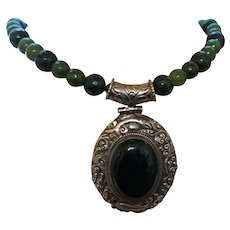 Hand Strung Jade Necklace with a Tibetan Onyx Pendant