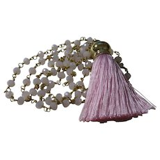 Hand Strung Pink Crystal Necklace with Tassel