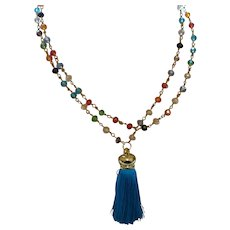 Hand Strung Multi Colored Crystal Necklace with Tassel