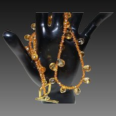 Hand Strung  Citrine Briolettes Necklace