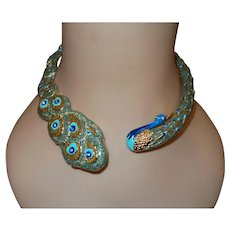 Signed Pasolli of Italy Peacock Necklace