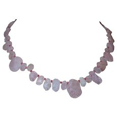 Hand Strung Rough Slab Morganite Necklace