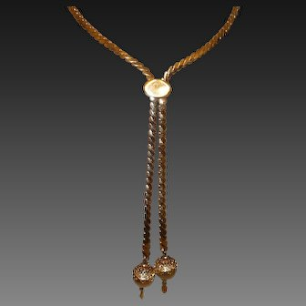 1970s Vintage Monet Filigree Lariat Necklace