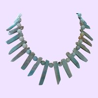 Hand Strung Necklace with Round and Long Chip Larimar Stones
