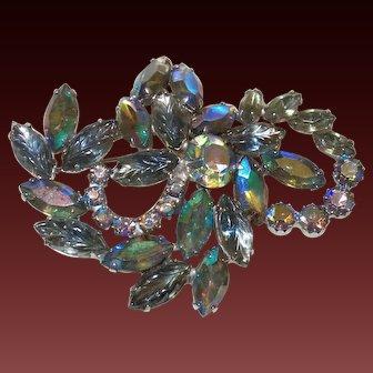 D&E Juliana Owl Design Brooch in Aurora Borealis Crystals