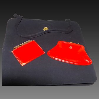 Koret Purse in Black Suede and Scarlet Leather