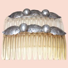 Hair Combs with Decorative Silver Tone Metal