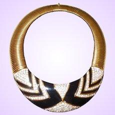 Nina Ricci Rhinestone and Enamel Necklace