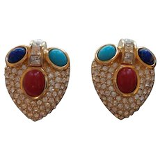 Dior Earrings With Glass Cabochons and Rhinestones