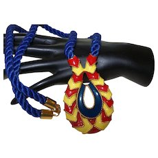 Signed Valentino Necklace in Enamel and Blue Silk Cord