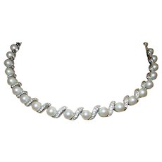 Vintage Faux Pearl and Faux Diamond Necklace