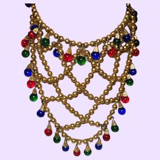 Vintage Russian Gold Necklace with Faux Gems
