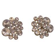 Vintage 1960 Clear Rivoli Rhinestone Earrings
