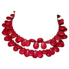 Hand Strung Red Turquoise Necklace with Crystals