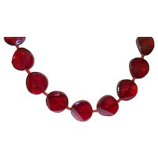 Hand Strung Red Facet Glass Necklace With Sterling Clasp