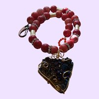 Hand Strung Conch Shell and Druzy Quartz Necklace