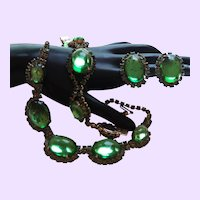 Designer Quality Green Glass Demi Parure