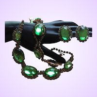 Designer Quality Green Glass Demi Parure