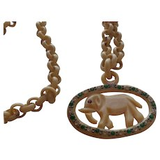 Vintage Celluloid Elephant Necklace
