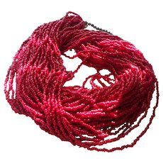 Mediterranean Thirty Strand Red Coral Necklace