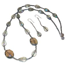 Hand Strung Crystal Necklace with Earrings