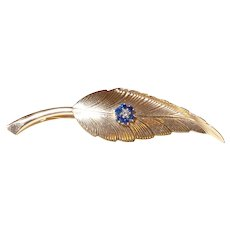 Signed Gold Tiffany Diamond and Sapphire Leaf Pin