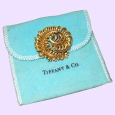 SIgned Gold Tiffany and Co Curled Leaf Brooch