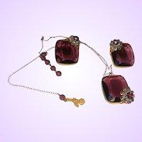 Vintage Czech Glass Necklace/Earrings