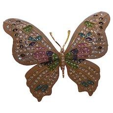 Signed Joan Rivers Crystal Fantasy Butterfly Brooch