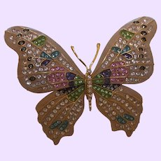 Signed Joan Rivers Crystal Fantasy Butterfly Brooch