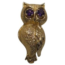 Vintage 14 Karat Yellow Gold Owl Pin
